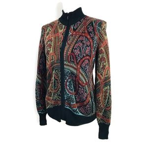 Peruvian Connection Cardigan Paisley Zip